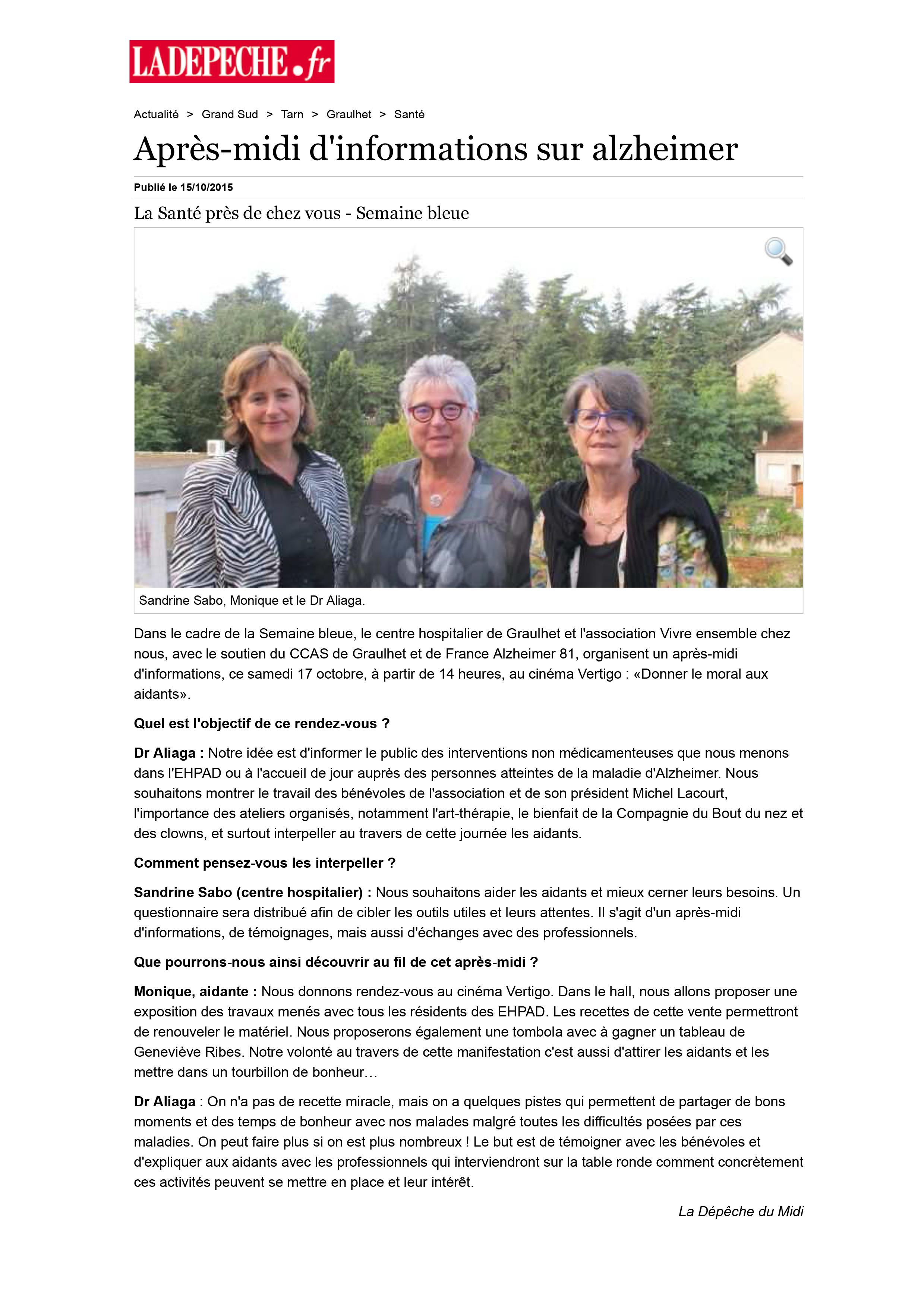 Après-midi d'informations sur alzheimer - 15/10/2015 - ladepech